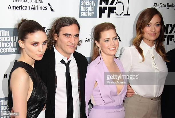 """Actors Rooney Mara, Joaquin Phoenix, Amy Adams, and Olivia Wilde attend the Closing Night Gala Presentation Of """"Her"""" during the 51st New York Film..."""