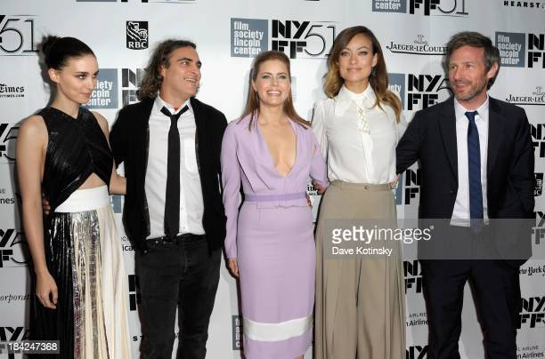 Actors Rooney Mara Joaquin Phoenix Amy Adams Olivia Wilde and director Spike Jonze attend the Closing Night Gala Presentation Of Her during the 51st...