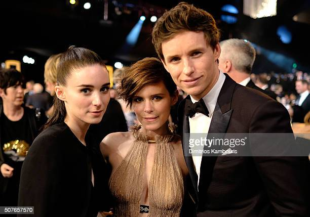 Actors Rooney Mara Kate Mara and Eddie Redmayne pose during The 22nd Annual Screen Actors Guild Awards at The Shrine Auditorium on January 30 2016 in...