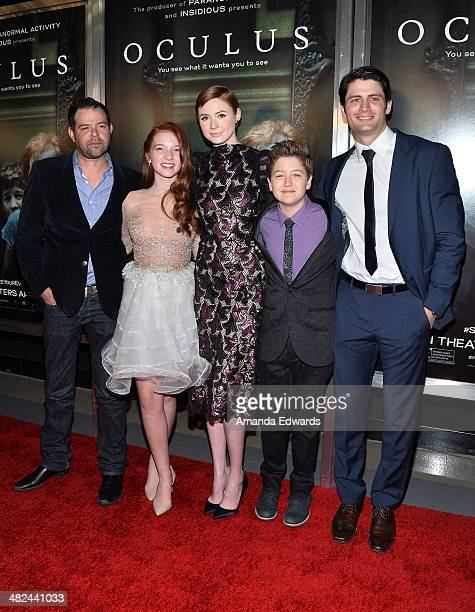 Actors Rory Cochrane Annalise Basso Karen Gillan Garrett Ryan and James Lafferty arrive at the Los Angeles premiere of Oculus at the TLC Chinese 6...