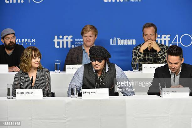 Actors Rory Cochrane Dakota Johnson Jesse Plemons Johnny Depp Peter Sarsgaard and director/producer Scott Cooper attend the Black Mass press...