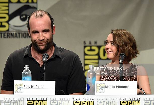 Actors Rory McCann and Maisie Williams attend HBO's Game Of Thrones panel and QA during ComicCon International 2014 at San Diego Convention Center on...