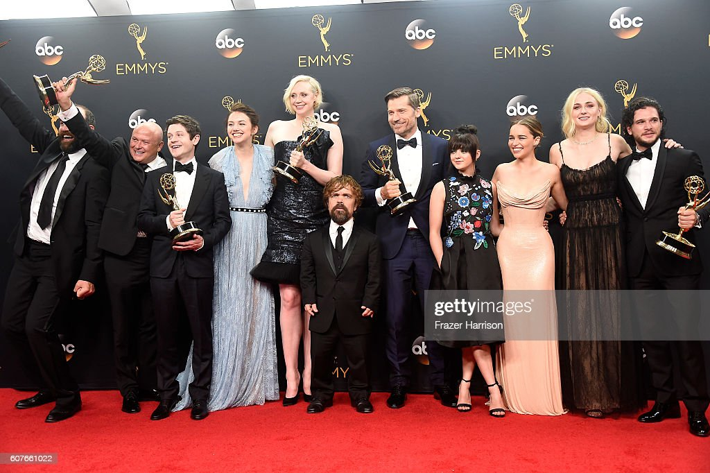 Actors Rory McCann, Conleth Hill, Iwan Rheon, Gwendoline Christie, Peter Dinklage, Nikolaj Coster-Waldau, Maisie Williams, Emilia Clarke, Sophie Turner and Kit Harington, winners of Best Drama Series for 'Game of Thrones', pose in the press room during the 68th Annual Primetime Emmy Awards at Microsoft Theater on September 18, 2016 in Los Angeles, California.