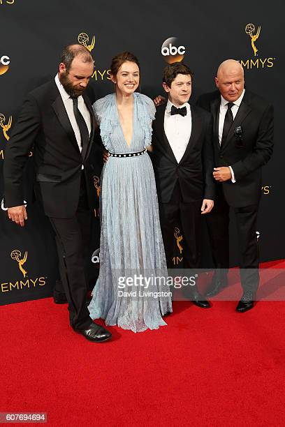 Actors Rory McCann Hannah Murray Iwan Rheon and Conleth Hill arrive at the 68th Annual Primetime Emmy Awards at the Microsoft Theater on September 18...