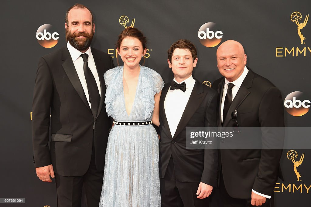 Actors Rory McCann, Hannah Murray, Iwan Rheon and Conleth Hill attend the 68th Annual Primetime Emmy Awards at Microsoft Theater on September 18, 2016 in Los Angeles, California.