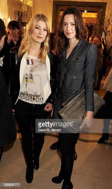 Actors Rosamund Pike and Rebecca Hall attend the Mulberry Salon Show at London Fashion Week Autumn/Winter 2011 at Claridge's Hotel on February 20...