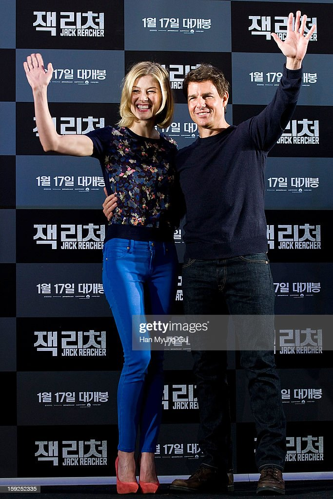 Actors Rosamund Pike and Tom Cruise attend the 'Jack Reacher' press conference at Conrad Hotel on January 10, 2013 in Seoul, South Korea. The film will open on January 17 in South Korea.