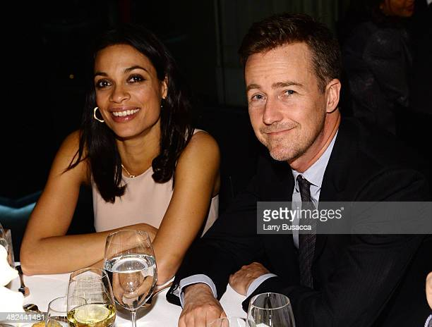 Actors Rosario Dawson and Edward Norton attend Montblanc Celebrates 90 Years of the Iconic Meisterstuck on April 3 2014 at Guastavino's in New York...