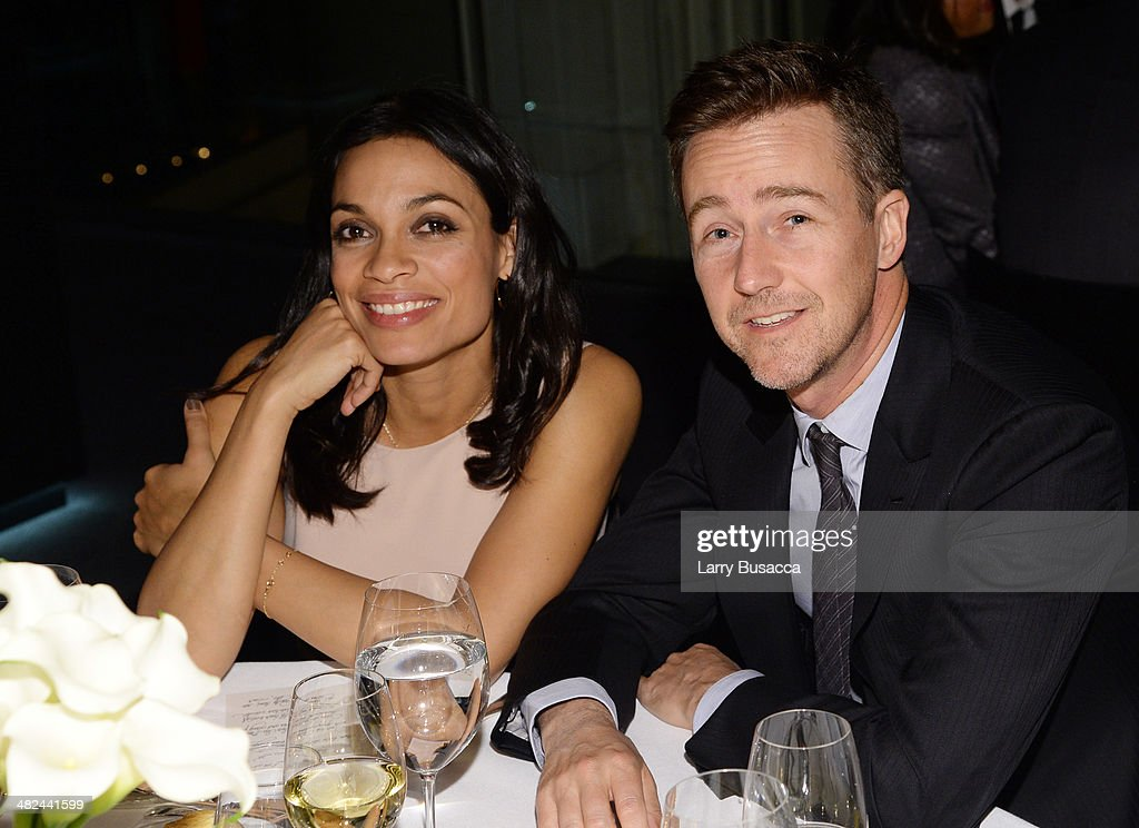 Actors Rosario Dawson and Edward Norton attend Montblanc Celebrates 90 Years of the Iconic Meisterstuck on April 3, 2014 at Guastavino's in New York City.