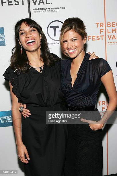 Actors Rosario Dawson and Eva Mendes arrive during the Bringing Home The Bacon panel discussion at the 2007 Tribeca Film Festival on April 27 2007 in...