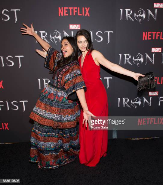 "Actors Rosario Dawson and Jessica Henwick attend Marvel's ""Iron Fist"" New York screening at AMC Empire 25 on March 15, 2017 in New York City."