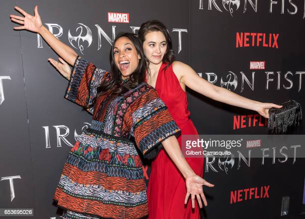 Actors Rosario Dawson and Jessica Henwick attend Marvel's 'Iron Fist' New York Screening at AMC Empire 25 on March 15, 2017 in New York City.