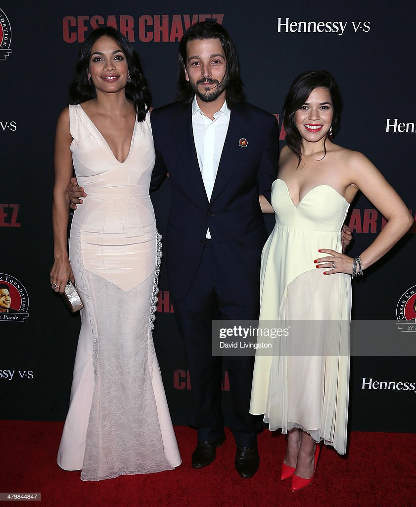 Actors Rosario Dawson, Diego Luna and America Ferrera attend the premiere of Pantelion Films and Participant Media's 'Cesar Chavez' at TCL Chinese Theatre on March 20, 2014 in Hollywood, California.