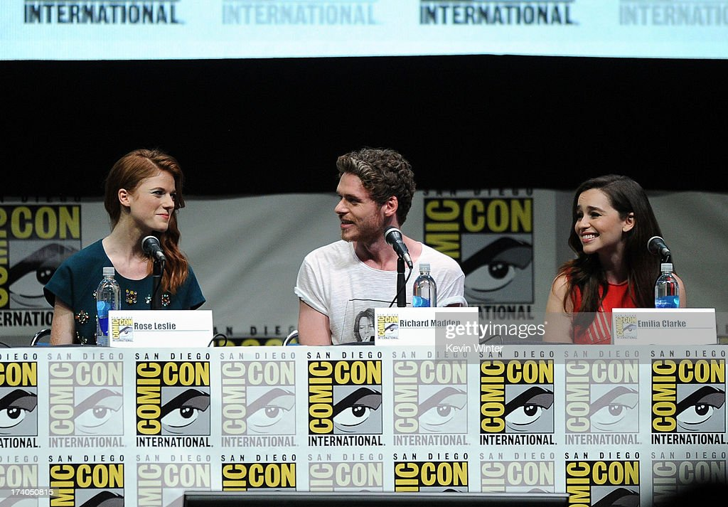 Actors Rose Leslie, Richard Madden, and Emilia Clarke speak onstage during the 'Game Of Thrones' panel during Comic-Con International 2013 at San Diego Convention Center on July 19, 2013 in San Diego, California.