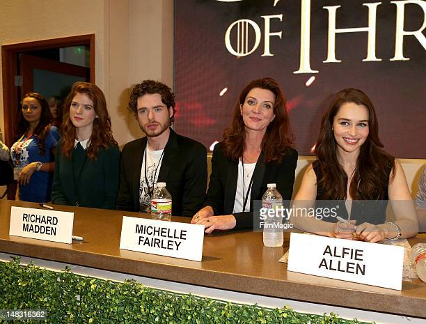 "Actors Rose Leslie, Richard Madden, Michelle Fairley, and Emilia Clarke sign autographs for HBO's ""Game Of Thrones"" during Comic-Con International..."