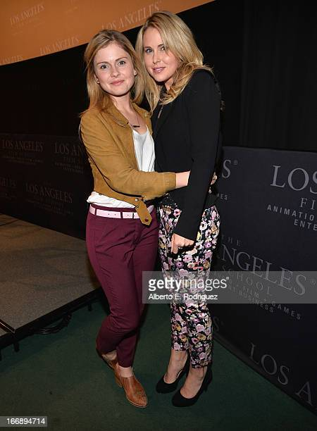 Actors Rose McIver and Anna Hutchison attend Australians In Film's screening of Revival Film Company's 'Blinder' at Los Angeles Film School on April...