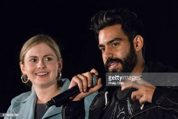 Actors Rose McIver and Rahul Kohli attend the 'iZombie' QA for Fan Expo Vancouver in the Vancouver Convention Centre on November 12 2017 in Vancouver...