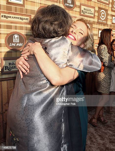 Actors Roseanne Barr and Alicia Goranson arrive at the Comedy Central Roast of Roseanne Barr at Hollywood Palladium on August 4 2012 in Hollywood...