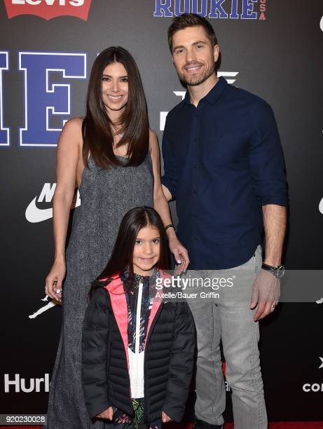 Actors Roselyn Sanchez Eric Winter and daughter Sebella Rose Winter attend ROOKIE USA Fashion Show at Milk Studios on February 15 2018 in Los Angeles...