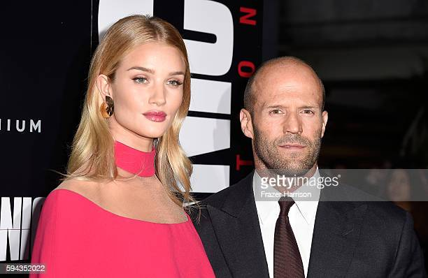 Actors Rosie HuntingtonWhiteley and Jason Statham arrives at the Premiere of Summit Entertainment's 'Mechanic Resurrection' at ArcLight Hollywood on...
