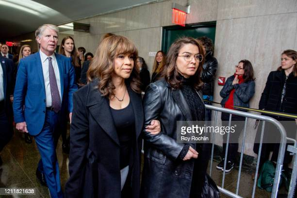 Actors Rosie Perez and Annabella Sciorra walk into the courthouse for sentencing of movie mogul Harvey Weinstein on March 11 2020 in New York City...
