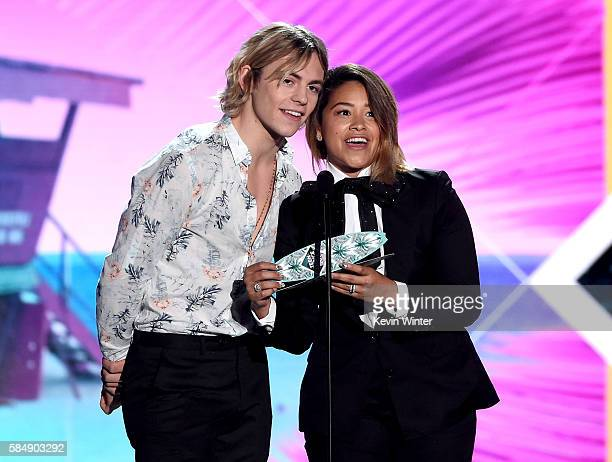 Actors Ross Lynch and Gina Rodriguez speak onstage during Teen Choice Awards 2016 at The Forum on July 31 2016 in Inglewood California