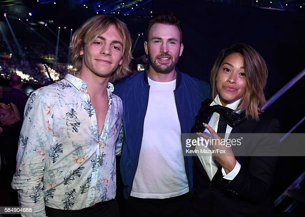 Actors Ross Lynch Chris Evans and Gina Rodriguez attend the Teen Choice Awards 2016 at The Forum on July 31 2016 in Inglewood California