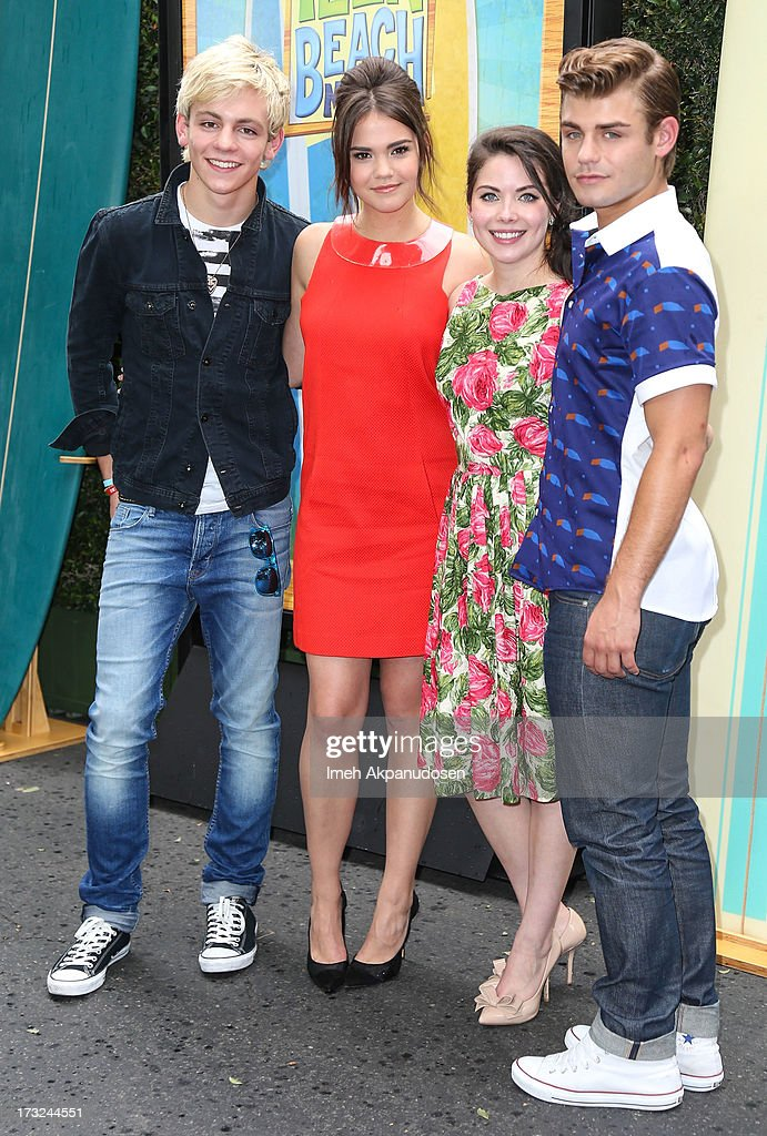 Actors Ross Lynch, Maia Mitchell, Grace Phipps, and Garrett Clayton attend the cast of 'Teen Beach Movie' reunion for movie night at Walt Disney Studios on July 10, 2013 in Burbank, California.
