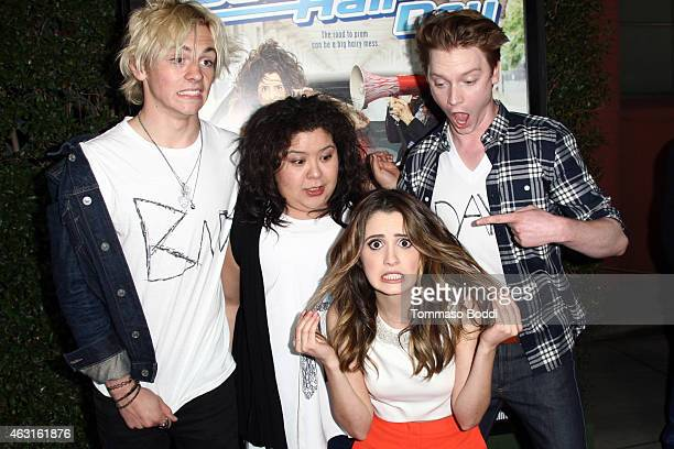Actors Ross Lynch Raini Rodriguez Calum Worthy and Laura Marano attend the Disney Channel Original Movie Bad Hair Day Los Angeles premiere held at...