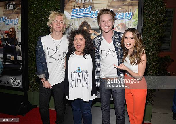 Actors Ross Lynch Raini Rodriguez Calum Worthy and Laura Marano attend the Los Angeles premiere of the Disney Channel Original Movie Bad Hair Day at...