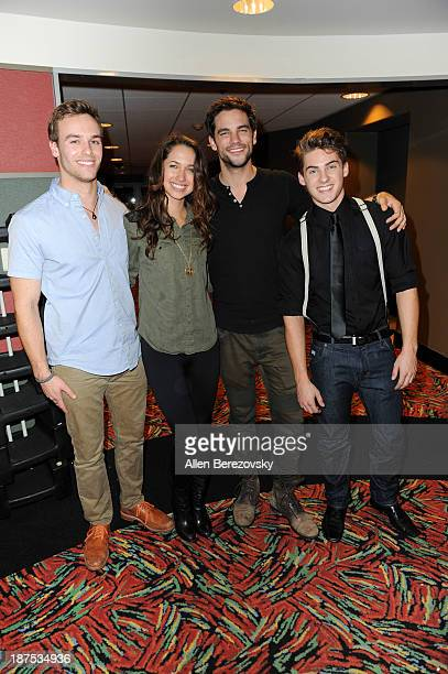 Actors Ross Wyngaarden Maiara Walsh Brant Daugherty and Cody Christian attend 'The Starving Games' Hunger Games Spoof meet and greet at AMC Orange 30...