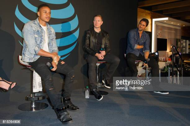 Actors Rotimi Akinosho Joseph Sikora and JR Ramirez on stage at Power in store appearance at the ATT store on July 15 2017 in Troy Michigan