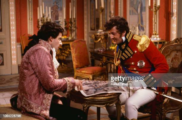 Actors Rowan Atkinson and Stephen Fry in a scene from episode 'Duel' of the BBC television sitcom 'Black Adder the Third' July 3rd 1987