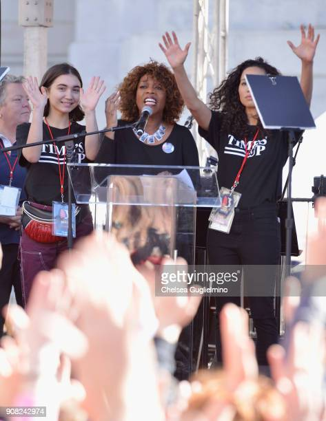 Actors Rowan Blanchard Alfre Woodard and Jurnee SmollettBell onstage during the Women's March Los Angeles 2018 on January 20 2018 in Los Angeles...