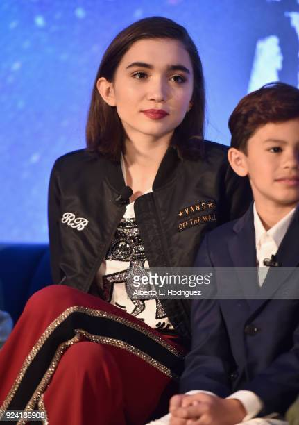 Actors Rowan Blanchard and Deric McCabe participate in the press conference for Disney's 'A Wrinkle in Time' in Hollywood CA on March 25 2018