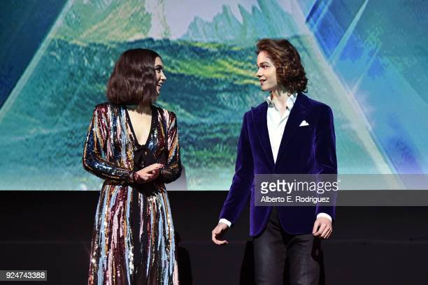 Actors Rowan Blanchard and Levi Miller speak onstage at the world premiere of Disney's 'A Wrinkle in Time' at the El Capitan Theatre in Hollywood CA...