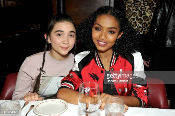 Actors Rowan Blanchard and Yara Shahidi attend the Coach Rodarte celebration for their Spring 2017 Collaboration at Musso Frank on March 30 2017 in...