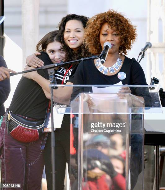 Actors Rowan Blanchard Jurnee SmollettBell and Alfre Woodard onstage during the Women's March Los Angeles 2018 on January 20 2018 in Los Angeles...