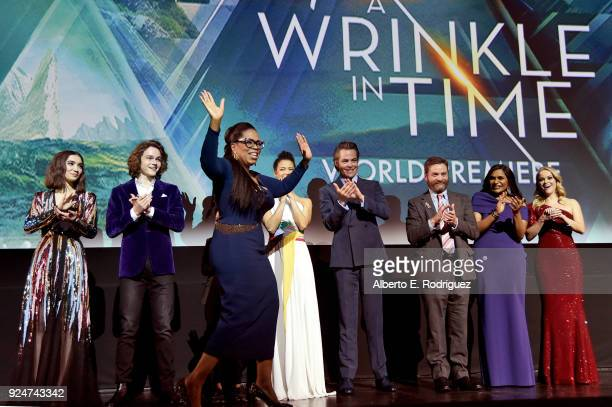 Actors Rowan Blanchard Levi Miller Oprah Winfrey Gugu MbathaRaw Chris Pine Zach Galifianakis Mindy Kaling and Reese Witherspoon onstage at the world...