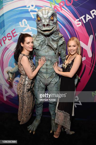 Actors Roxane Mesquida and Kelli Berglund pose with suprise guest from 'Now Apocalypse' at Starz Vanity Fair Sundance Party at on January 27 2019 in...