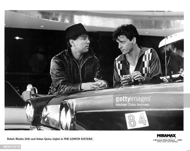 Actors Ruben Blades and Aidan Quinn in a scene from the Miramax movie 'The Lemon Sisters' circa 1989