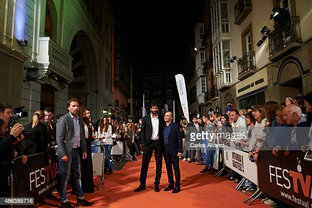 Actors Ruben Cortada and Pepe Viyuela attend the 'Olmos Y Robles' premiere during the 7th FesTVal Television Festival 2015 at the Principal Theater...