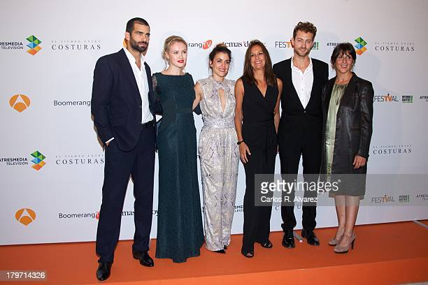 Actors Ruben Cortada Hannah New Adriana Ugarte author Maria Duenas Peter Vives and Elvira Minguez attend the 'El Tiempo Entre Costuras' red carpet...