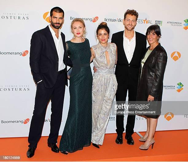 Actors Ruben Cortada Hannah New Adriana Ugarte Peter Vives and Elvira Minguez attend the 'El Tiempo Entre Costuras' new season serie red carpet...
