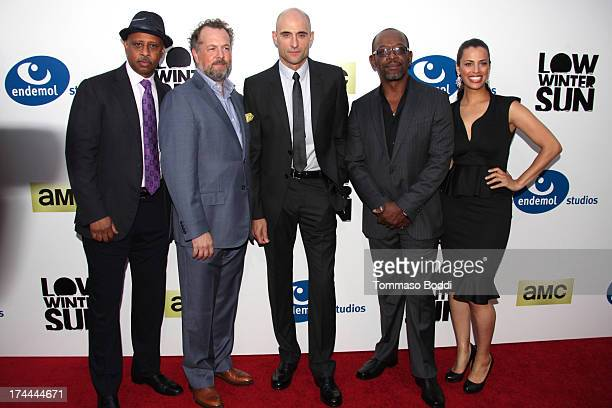 Actors Ruben SantiagoHudson David Costabile Mark Strong Lennie James and Athena Karkanis attend the AMC's New Series Low Winter Sun Los Angeles...