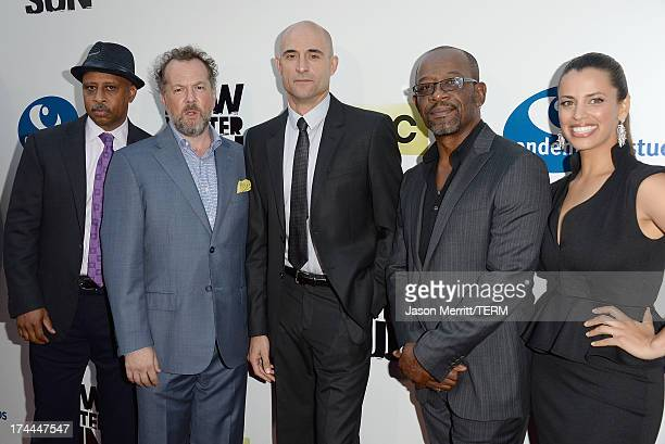 Actors Ruben SantiagoHudson David Costabile Mark Strong Lennie James and Athena Karkanis attend the AMC's New Series 'Low Winter Sun' Los Angeles...