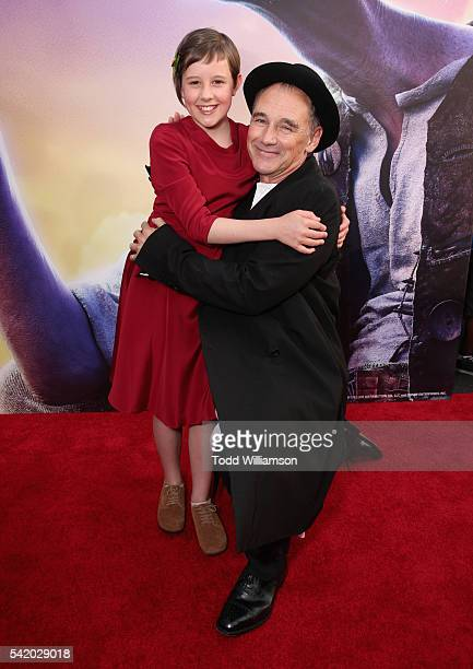 """Actors Ruby Barnhill and Mark Rylance attend Disney's """"The BFG"""" premiere at the El Capitan Theatre on June 21, 2016 in Hollywood, California."""