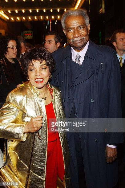Actors Ruby Dee and Ossie Davis arrive at the opening of The Gem of the Ocean at the Walter Kerr Theatre on December 6 2004 in New York