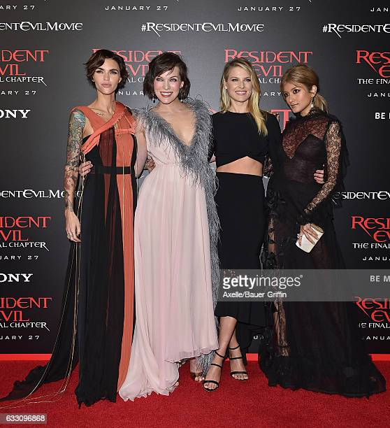 Actors Ruby Rose Milla Jovovich Ali Larter and Rola arrive at the premiere of Sony Pictures Releasing's 'Resident Evil The Final Chapter' at Regal LA...