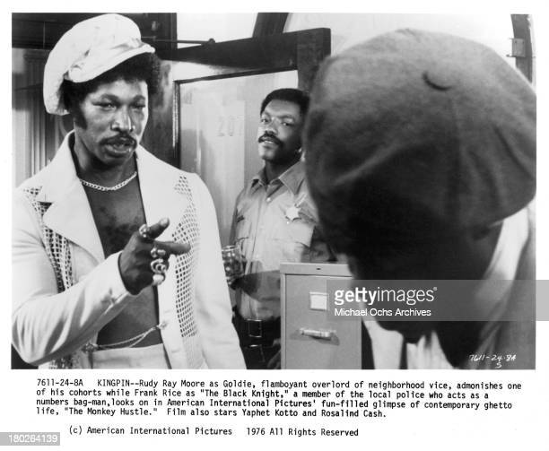 Actors Rudy Ray Moore and Frank Rice on set for the movie The Monkey Hu$tle in 1976